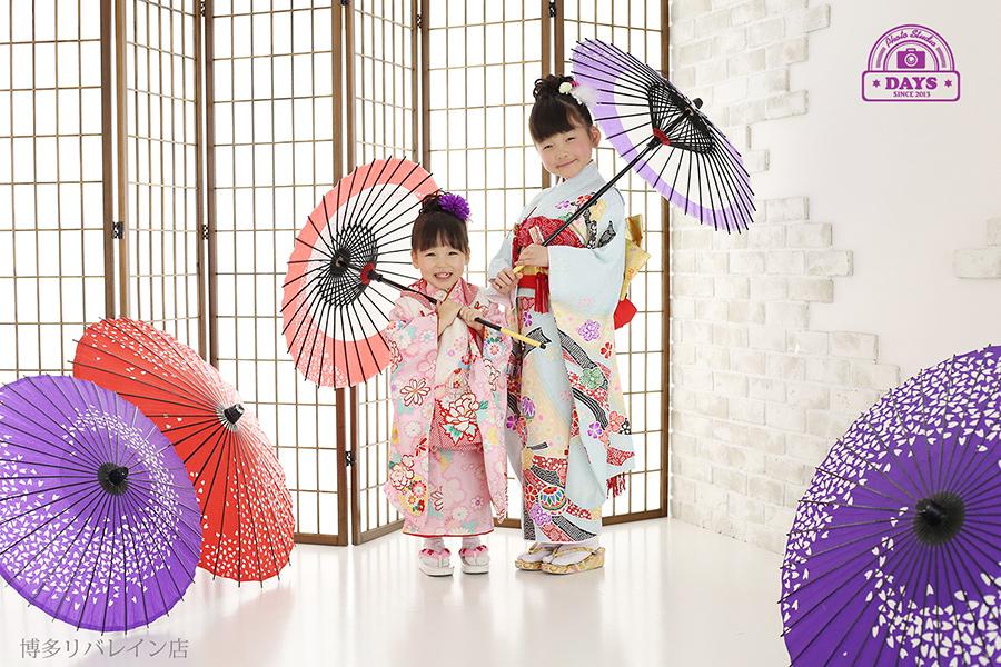 和傘と姉妹の七五三