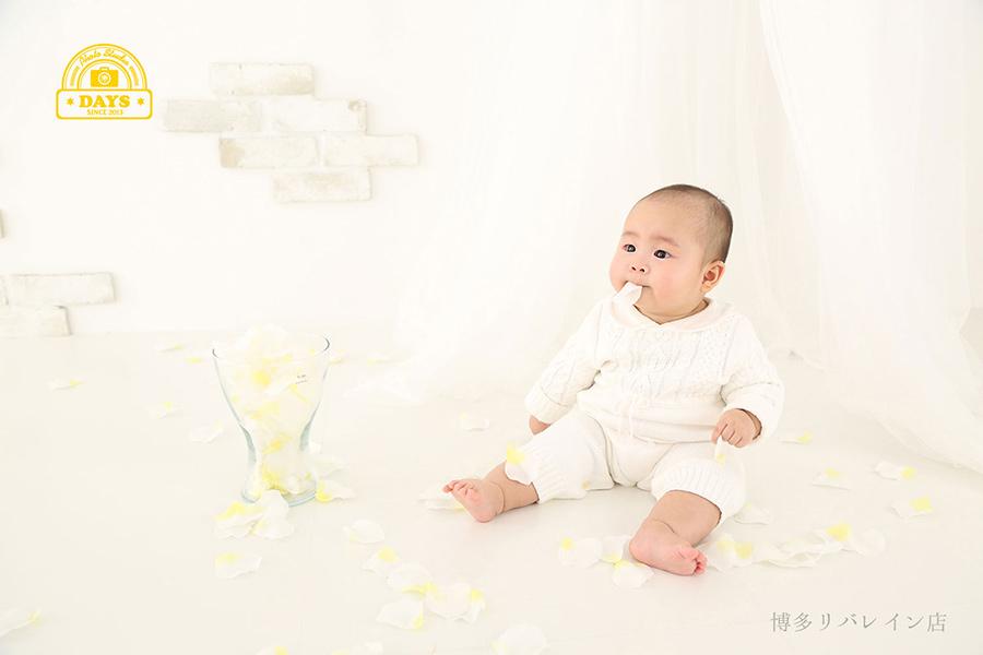 花びらで遊ぶお座りの上手な赤ちゃん