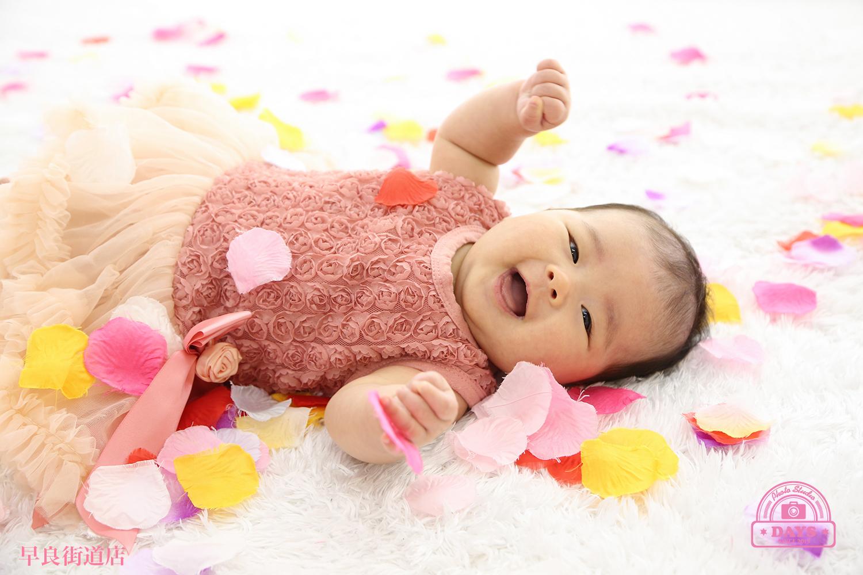 真っ白な絨毯でゴロン~上から降ってくる花びらに大喜びのハーフバースデーの写真